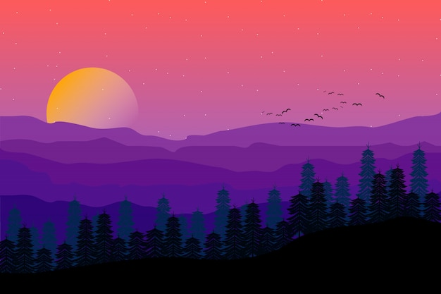 Mountain landscape with starry purple night sky illustration