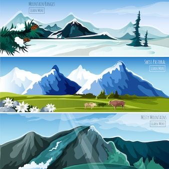 Mountain landscapes banner set