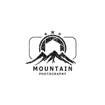 Mountain landscapes and camera lenses for outdoor activities or logo photography