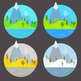 Mountain landscapes in different seasons. simple flat cartoon  illustration set.