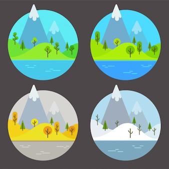 Горные пейзажи в разные времена года. простой плоский мультфильм иллюстрации набор.