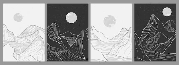セットの山の線画、抽象的な山の現代的な美的背景の風景。プリントアート、カバー、招待状の背景、ファブリックに使用します。ベクトルイラスト