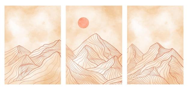 セットの山の線画、抽象的な山の現代的な美的背景の風景。プリントアート、カバー、招待状の背景、ファブリックに使用