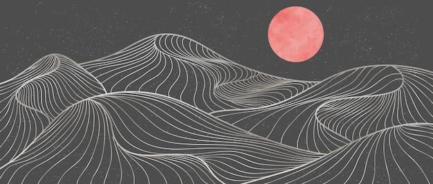 산 라인 아트 인쇄. 추상 산 현대 미적 배경 풍경입니다. 산, 숲, 바다, 스카이 라인, 파도. 벡터 일러스트