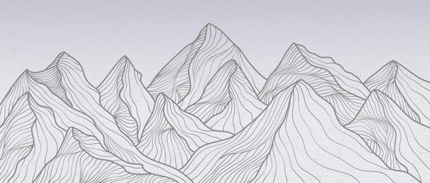 マウンテンラインアートプリント。抽象的な山の現代的な美的背景の風景