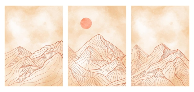 Mountain line art on set, abstract mountain contemporary aesthetic backgrounds landscapes. use for print art, cover, invitation background, fabric