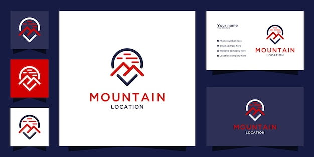 Mountain location logo with line art concept