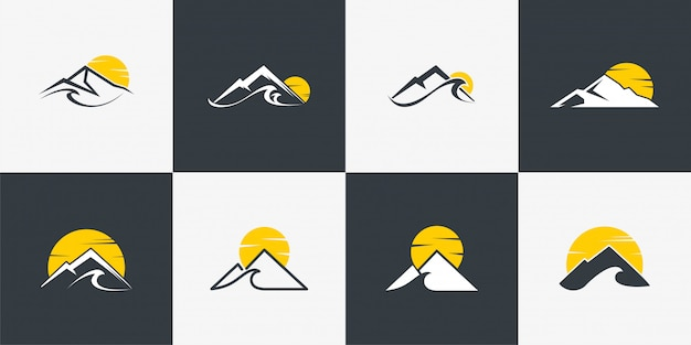 Mountain logo collection with unique concept,mountain, line art, outline