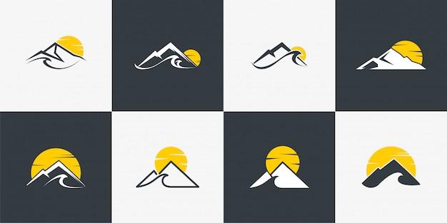 ユニークなコンセプト、山、ラインアート、アウトラインを備えた山のロゴコレクション