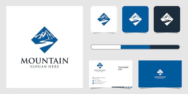 山のロゴのデザインと名刺のテンプレート Premiumベクター