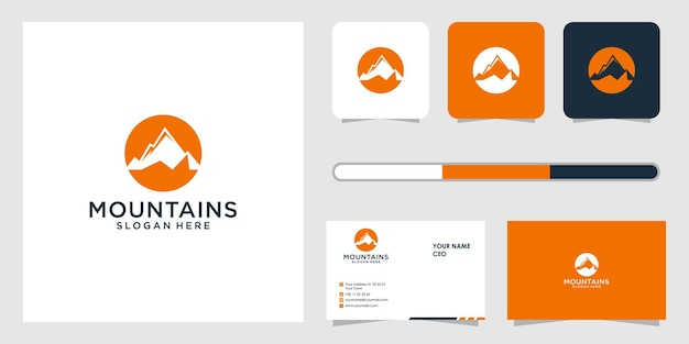 山のロゴのデザインと名刺のテンプレート