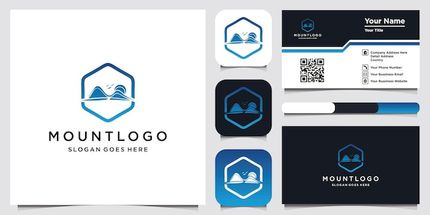 Mountain logo design and business card