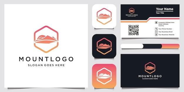 山のロゴデザインテンプレートと名刺