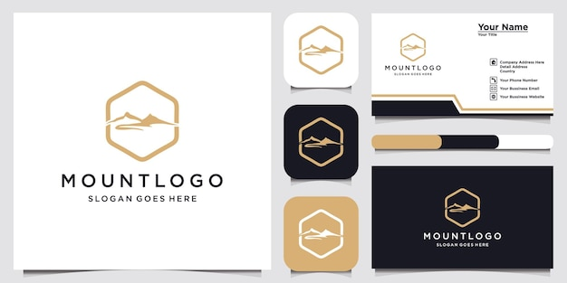 Mountain logo design template and business card