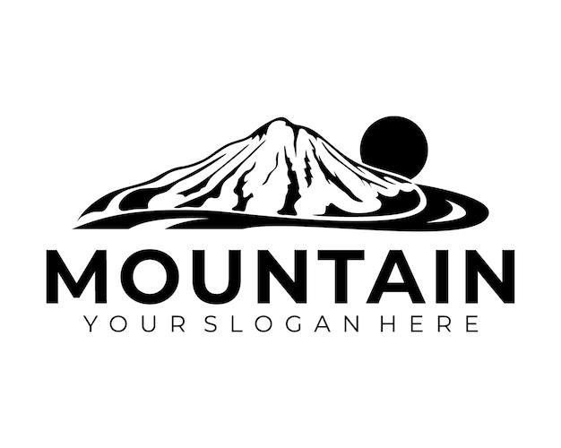 Mountain logo design vector silhouette illustration