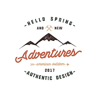 Mountain logo design with quote - hello spring and new adventures.