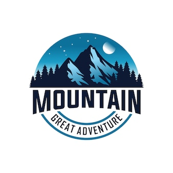 Горный логотип для приключений и шаблон дизайна логотипа на открытом воздухе