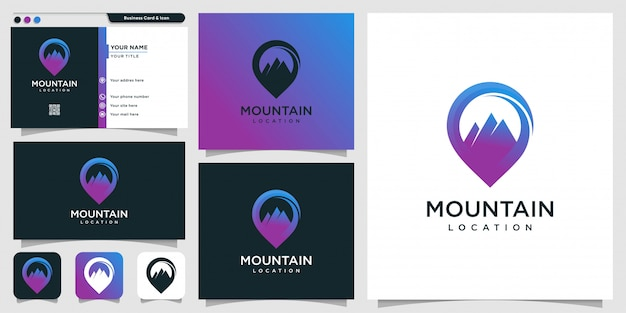 Mountain logo location with modern concept and business card design template, mountain, location, pin, map