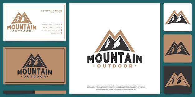山のロゴ、レトロなヒップスタースタイル