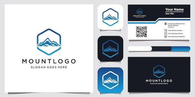 山のロゴのテンプレートと名刺のデザイン