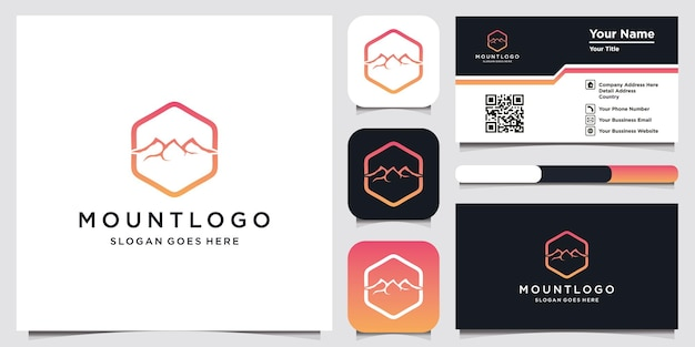 Mountain logo template and business card design