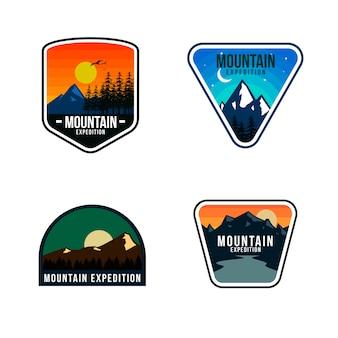 Mountain logo template design Premium Vector