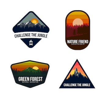 Mountain logo template design Premium Vector