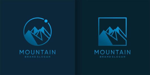 クールでクリエイティブなコンセプトの山のロゴテンプレート