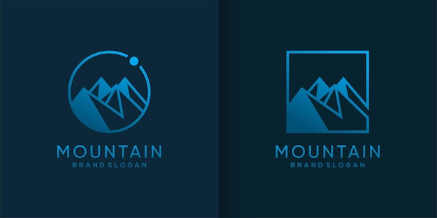 Mountain logo template with cool and creative concept