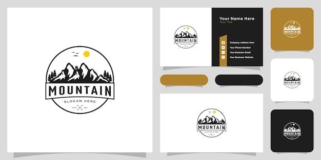 山のロゴのベクトルデザインエンブレムヴィンテージ