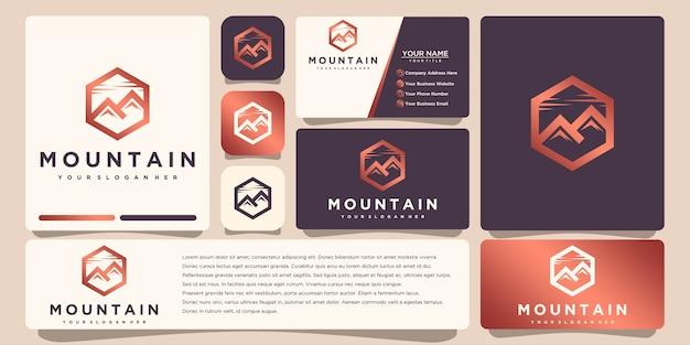 Горный логотип с шаблоном визитной карточки