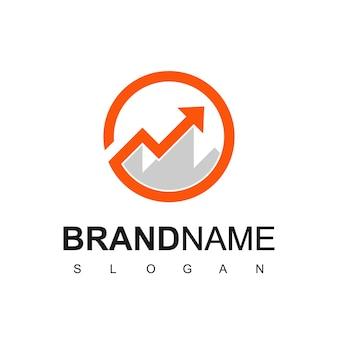 ビジネス統計シンボルと山のロゴ