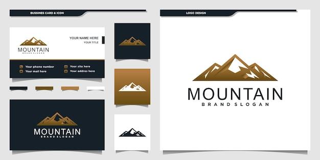 クールなグラデーションのコンセプトと名刺デザインの山のロゴプレミアムベクトル