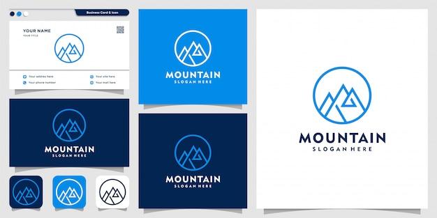 Гора логотип с линией арт стиль и шаблон дизайна визитной карточки, гора, штриховая графика, значок