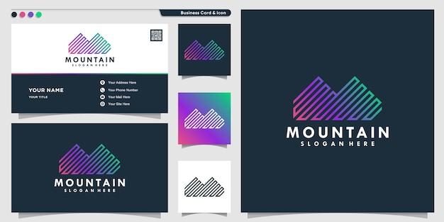 Mountain logo with line concept premium vector