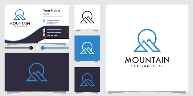 Mountain logo with modern line art style and business card design premium vector