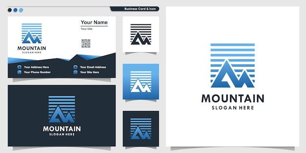 Mountain logo with modern simple style and business card design template premium vector