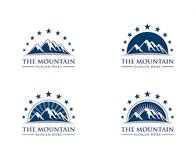 Mountain logo with sun and star concept