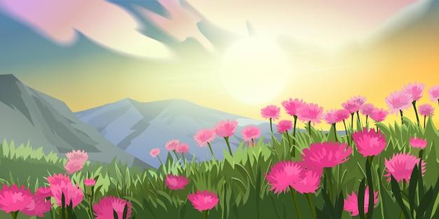 Горный луг на восходе солнца пейзаж