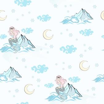 Mountain mermaid new year seamless pattern