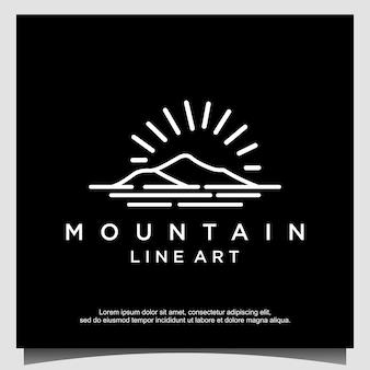 ラインアートのロゴデザインと山のミニマリスト