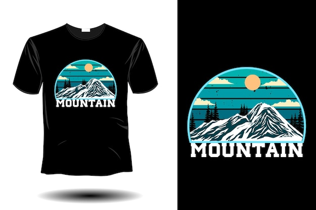 山のモックアップレトロなヴィンテージデザイン