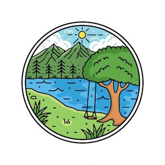 Mountain monoline vintage outdoor badge design