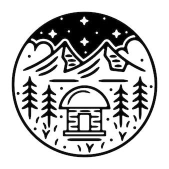 山モノラインヴィンテージ屋外バッジデザイン