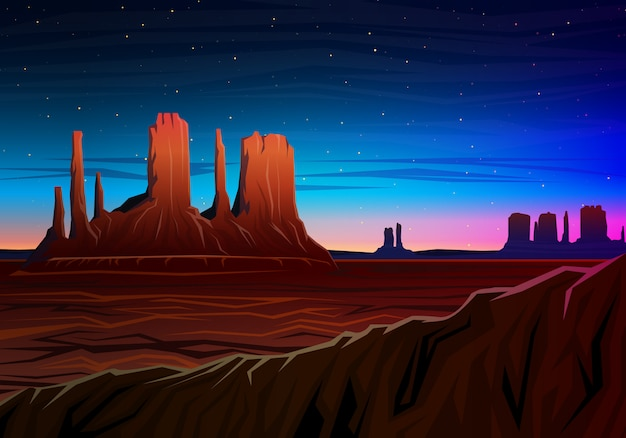 Mountain and monument valley, night panoramic view, peaks, landscape early in daylight.