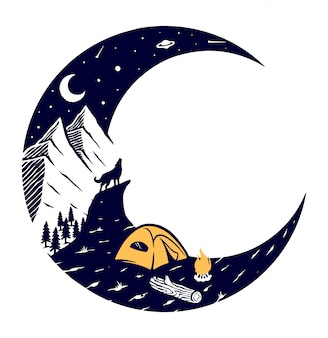 Mountain and moon illustration