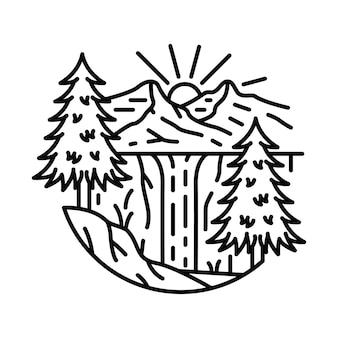 산 자연 모험 강 절벽 일출 라인 그래픽 일러스트 티셔츠 디자인