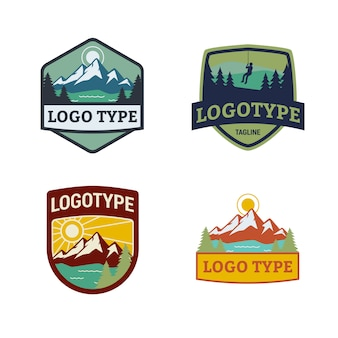 Mountain nature badge logo design with editable text