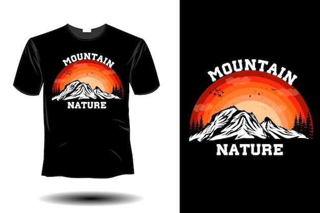 山の自然のモックアップレトロなヴィンテージデザイン