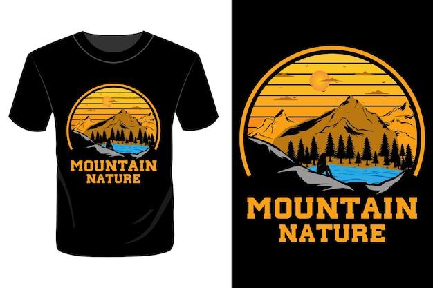 山の自然のtシャツのデザインヴィンテージレトロ